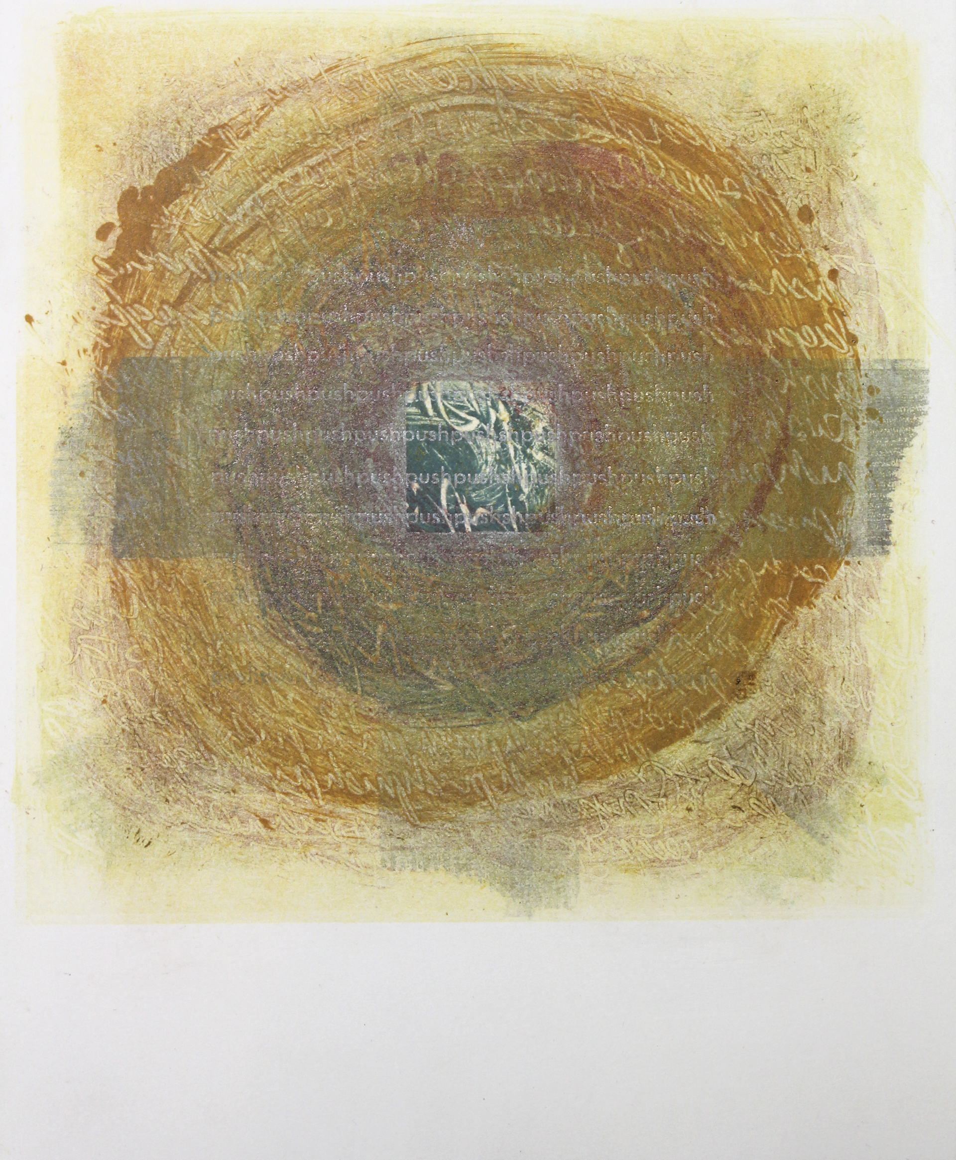 """Dissolution of Structure [Thought 2]"" monotype + letterpress print by Amy Redmond (Amada Press)"