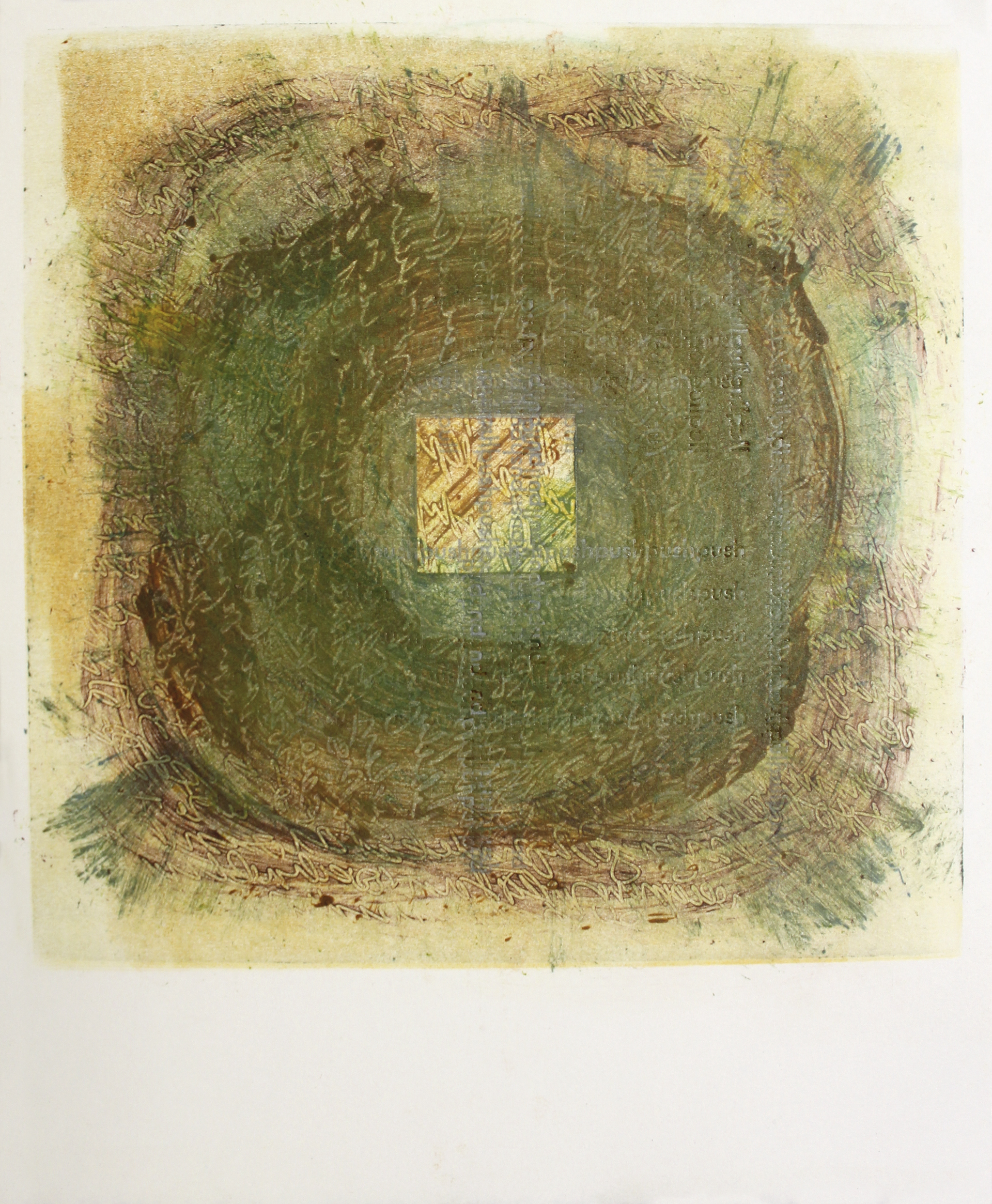 """Dissolution of Structure [Thought 3]"" monotype + letterpress print by Amy Redmond (Amada Press)"